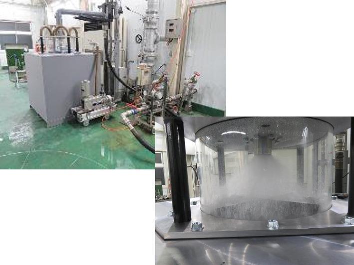 地熱発電機を模擬した真空試験でをスプレパターンの最適化